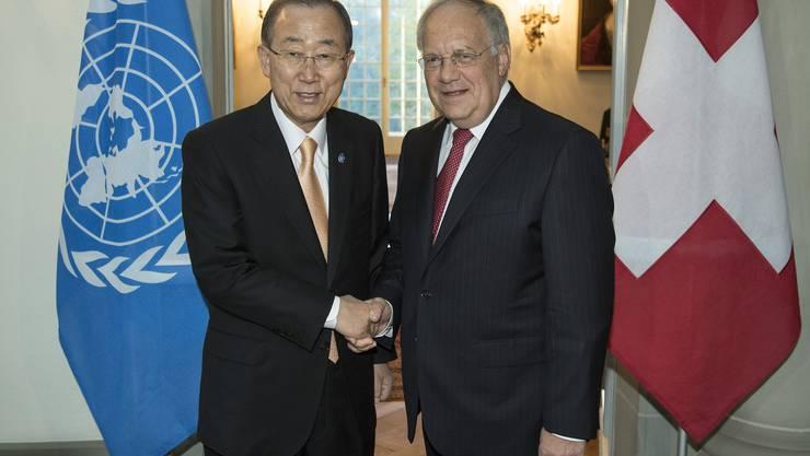 Johan Schneider-Ammann hat Ban Ki-moon zum Abschiedsbesuch eingeladen.