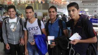 Die vier Kopten vor dem Abflug in die Schweiz.
