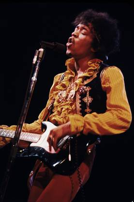Jimi Hendrix in Aktion.
