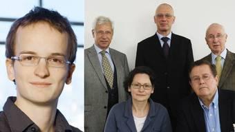 Martin Neukom, links, will kritischere Stimmen in den ENSI-Rat bringen. Rechts: Jürg Schmid Horst-Michael Prasser und Pierre Steiner, Vizepräsidentin Anne Eckhardt Scheck und Präsident Peter Huschmied. Hans-Jürgen Pfeiffer fehlt.