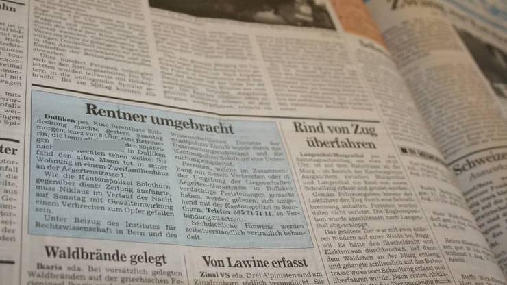 Im blauen Kasten berichtete die «Solothurner Zeitung» am 2. August 1993 über den Mord in Dulliken.