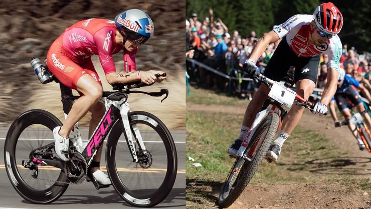 Wie auf Schienen zu ihren Triumphen: Daniela Ryf (links) und Nino Schurter (rechts).