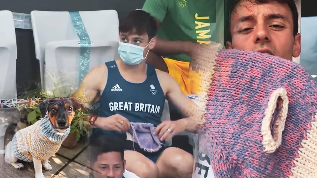 Hier «lismet» ein Olympiasieger einen Hundepulli auf der Tribüne