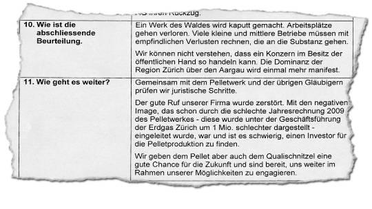 Vorwürfe: Die Polymill AG zeigt sich enttäuscht über die Rolle der Erdgas Zürich AG. (Bild: ZVG)
