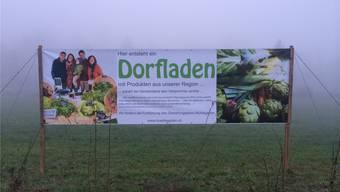 Werbung für den Mühlegarten: Das Transparent musste wegen fehlendem Baugesuch wieder entfernt werden.