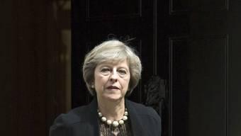 Hier möchte sie einziehen: Die britische Innenministerin vor Nummer 10, Downing Street, dem Sitz des Premiers. May stellt sich zusammen mit Energie-Staatssekretärin Andrea Leadsom zur Wahl als Parteichefin der Torys und damit als britische Regierungschefin.