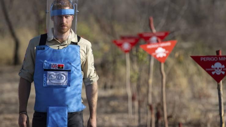 Prinz Harry läuft durch ein Minenfeld im angolanischen Dirico und tritt damit in die Fussspuren seiner Mutter, Prinzessin Diana, die sich medienwirksam für die Ächtung von Landminen eingesetzt hatte.