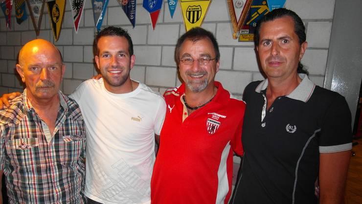 Der Vorstand des FC Wacker von links nach rechts: Hans Peter Gribi, Michel Schlup, Präsident Christian Schlup , Daniele Caroli.  wen