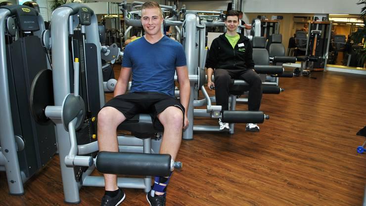 Matthias Brüderlin und Dennis Moser trainieren im Vitamare in Frick regelmässig. Die Masse eines Bodybuilders wollen sie aber nicht.