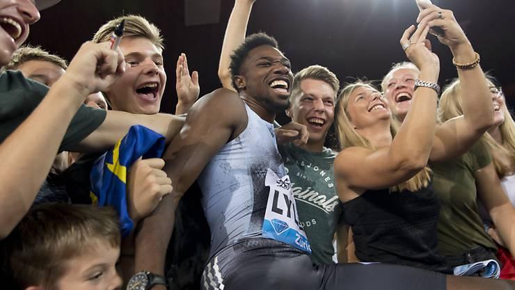 Noah Lyles, Sieger über 100 m und Publikumsliebling im Letzigrund