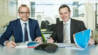 Lukas Kretz (links) von der BDO AG-Niederlassung Aarau und Michael Mathys, Niederlassungsleiter VZ VermögensZentrum Aarau gaben Auskunft.