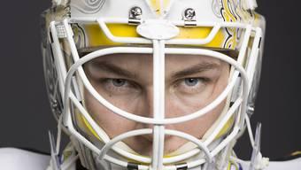 Fokussiert und mit stechendem Blick: Lugano-Keeper Elvis Merzlikins