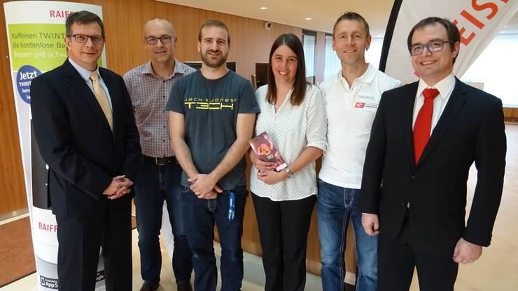 Von links nach rechts: Urs Obrist, Stefan à Porta, Dario Frei, Judith Boutellier, Emanuel Hülser und Marc d'Aujourd'hui