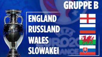 In Gruppe B treffen England, Russland, Wales und die Slowakei aufeinander.
