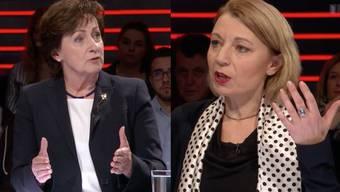 SVP-Nationalrätin Sylvia Flückiger-Bäni (links) und SP-Kontrahentin Yvonne Feri kämpfen für die Frauen – an zwei verschiedenen Fronten.