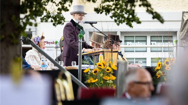 Gemeindeammann Pius Graf (SP) empfing die Stimmbevölkerung am 6. Juni zur historischen Landsgemeinde auf dem Postplatz.