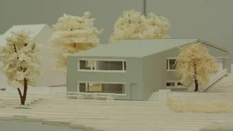 Modell des Kindergarten-Neubaus samt Mehrzweckraum.