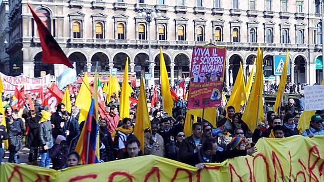 24 Stunden ohne uns - so die Streikbotschaft der Migranten in Mailand