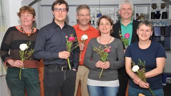 Die sechs Nominierten der Grünen für die Nationalratswahlen (v.l.): Barbara Wyss Flück, Daniel Urech, Felix Glatz-Böni, Gabriela Weber, Felix Wettstein, Regina Flury von Arx
