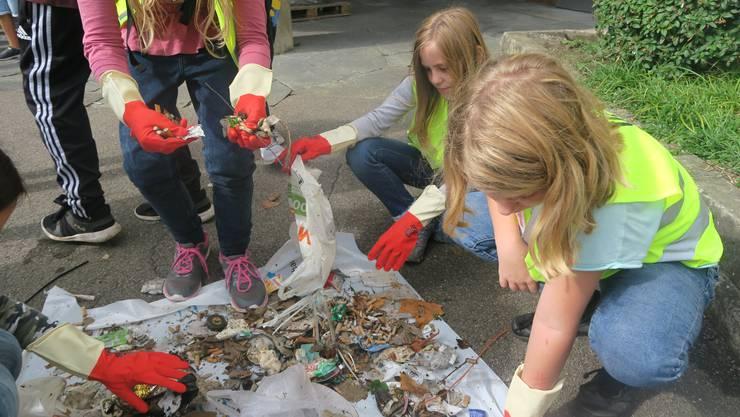 Keine Berührungsängste: Die Schülerinnen und Schüler sammelten im Herbst den Müll von den Unterengstringer Strassen.