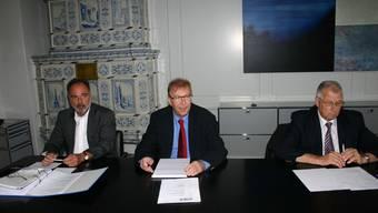 Neues vom Campussaal: Hanspeter Scheiwiler, Martin Wehrli und Andreas Bürgi informieren (v.l.).