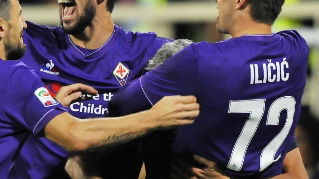 Jubel der Fiorentina-Spieler nach der 1:0-Führung durch Josip Ilicic.