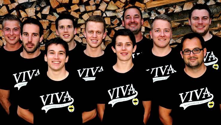 Das OK der Viva-Sportstafette (v. l.): Matthias Brüderlin (Sportanlass), Diego Baumann (Sportanlass), Joël Hänny (Wirtschaft), Sven Kistler (OK Präsident), Loris Gerster (Finanzen), Alex Stettler (Technik), Markus Basler (Sicherheit, Bau), Colin Brüderlin (Technik), Marc Joss (Marketing) und Thomas Hauri (Wirtschaft). ZVG