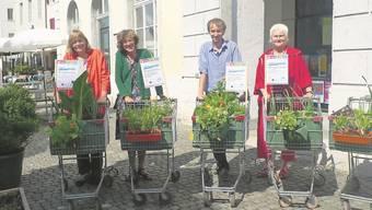 Elsbeth Wirth-Wyss, Marguerite Misteli, Christoph Schauwecker und Anne-Regula Keller mit den «fahrenden Gemüsebeeten»
