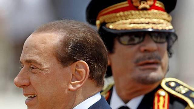 Gaddafi und Berlusconi in Rom