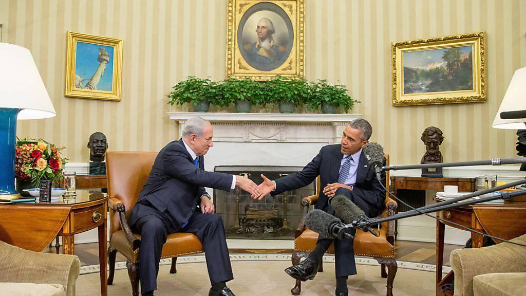 Beim ersten Wiedersehen von Obama (r.) und Netanjahu seit Monaten machten die beiden Staatschefs keinen Hehl daraus, dass im Iran-Dossier zwischen beiden Ländern weiterhin grosse Meinungsverschiedenheiten bestünden.