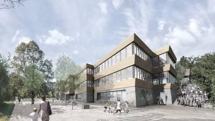 So soll das Schulhaus Haldenacher der Primarschule Birmensdorf dereinst aussehen.