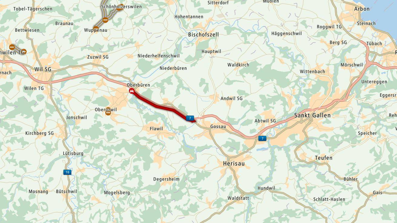 Auf der Autobahn A1 kam es zu grösserem Stau.