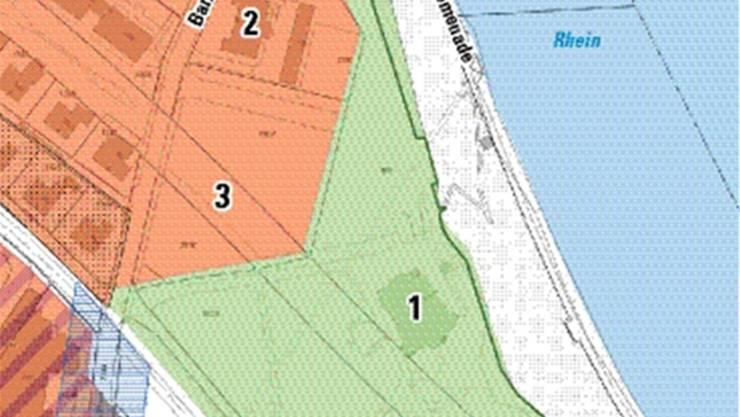 Das Schloss (1) liegt inmitten einer Grünzone (grün). Die Stiftung will diese erhalten und auf dem Bauland (orange) entlang der Barzstrasse vier Mehrfamilienhäuser bauen (2). Die Überbauung soll bis an den unterirdisch verlaufenden Umfahrungstunnel (3) grenzen. Südlich davon sind aktuell keine Bauten geplant.