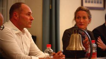 Gemeindeammann Werner Schumacher mit Regierungsrätin Susanne Hochuli an einer Infoveranstaltung im Jahr 2014. Tim Honegger