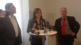 v.l.: Daniel Altermatt, Regina Werthmüller und Jürg Wiedemann verkünden ihren Zusammenschluss