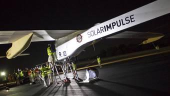 Die Solar Impulse kurz vor dem Abflug von Madrid nach Rabat am 5. Juni (Archiv)
