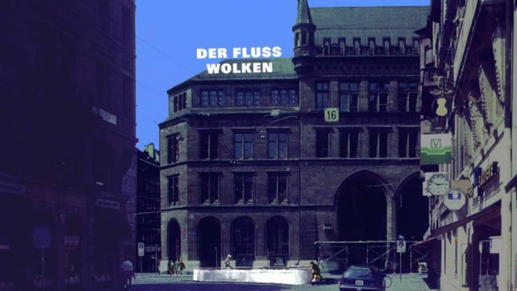 Das nie realisierte Projekt «Rüdenplatz» von Herzog & de Meuron mit Schriftbildern von Rémy Zaugg.