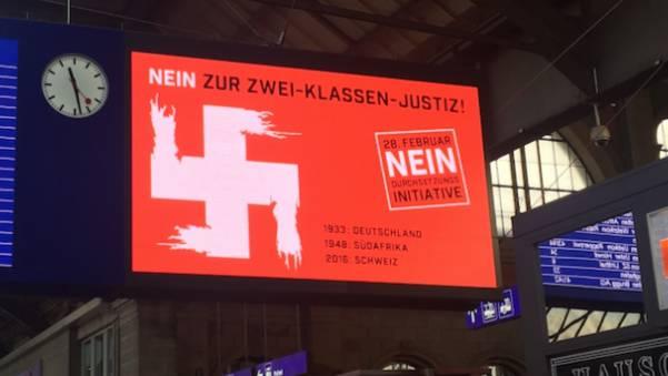 Vorraussichtlich kein juristisches Nachspiel: Hakenkreuz am Zürcher HB.
