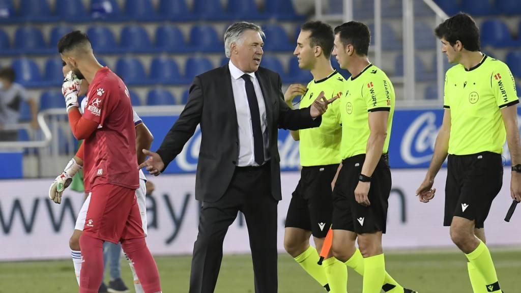 Carlo Ancelotti hatte nach dem Spiel trotz dem 4:1-Sieg Gesprächsstoff für eine Unterhaltung mit den Schiedsrichtern.