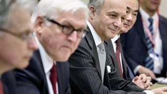 Aussenminister Steinmeier (l.) und Fabius am Sonntag in Lausanne