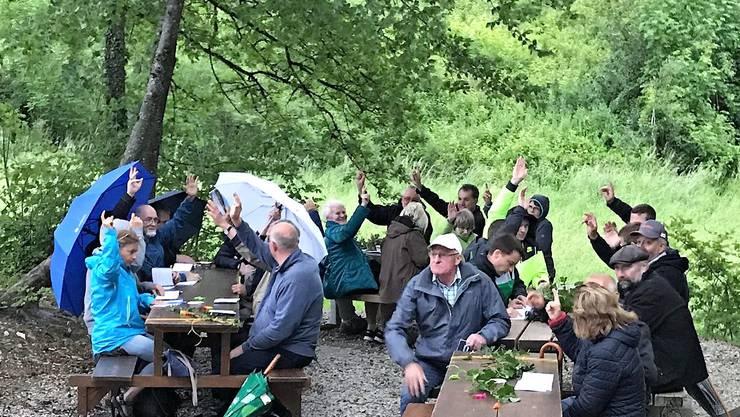 Die Gemeinde Mönthal liess es sich trotz Regenwetter nicht nehmen die Landsgemeinde auf dem Brötliplatz Bürersteig durchzuführen
