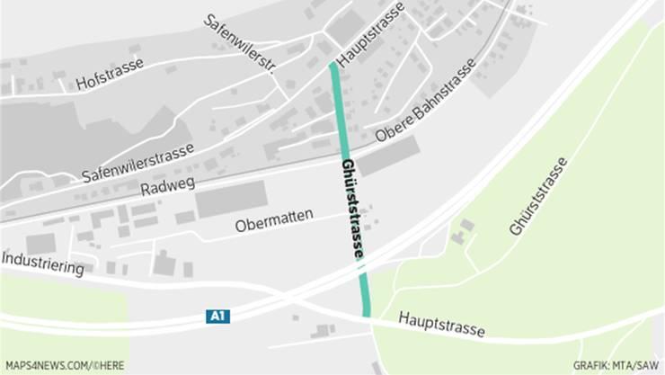 Der Ghürststrassen-Abschnitt zwischen Safenwiler- und Hauptstrasse.