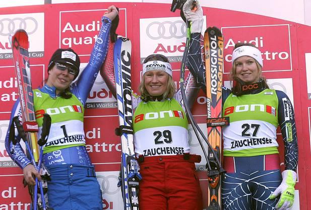Das erste Jubelbild von Dominique Gisin: Am 13. Januar 2007 wurde sie Zweite in der Abfahrt von Altenmarkt-Zauchensee.