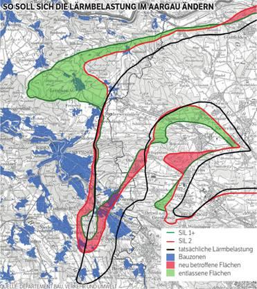So soll sich die Lärmbelastung im Aargau ändern.