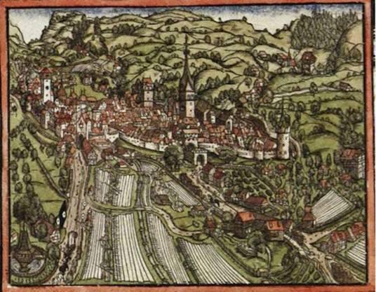 Die älteste Darstellung der St. Galler Bleichen (aus den 1540er-Jahren) zeigt eine grosse Anzahl Tücher, die westlich der Altstadt zur Bleiche ausgelegt sind.