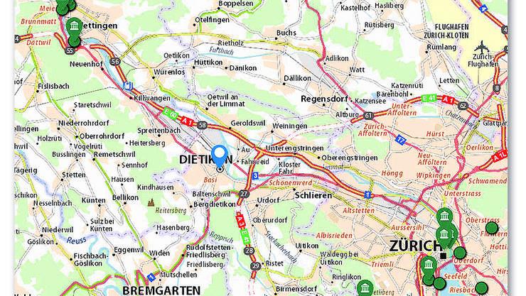 Zürich und Baden weisen Touristenattraktionen auf, dazwischen herrscht Leere.