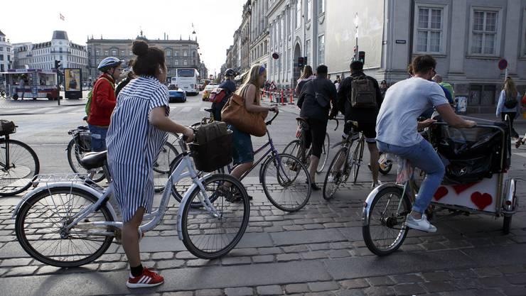 In Kopenhagen ist der Veloweg fünf Meter breit.