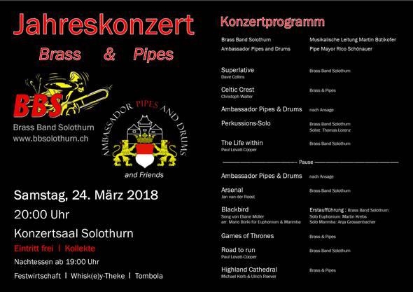 Ein abwechslungsreiches Programm mit Brass-Sound und Dudelsäcken. Erstaufführung des Stück Blackbird