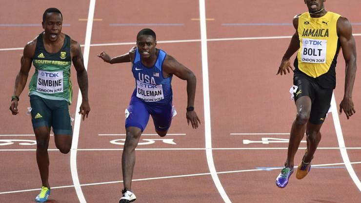 Christian Coleman gewann an den Weltmeisterschaften in London Silber noch vor Usain Bolt