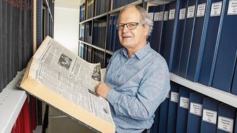 AZ-Redaktor Jörg Meier sucht seine alten Artikel. Im Zeitungsarchiv im Keller des BT-Hochhauses befinden sich alle Ausgaben der AZ und ihrer Vorgängerinnen